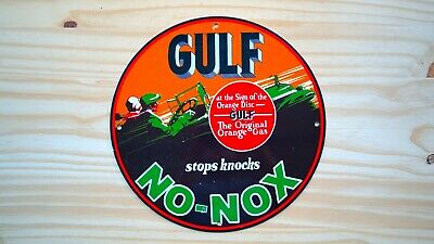 Vintage Gulf Oil No-Nox Porcelain Enamel 11 3/4'' Sign Gas Petrol Pump Plate Nr