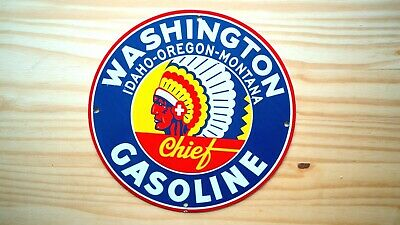 Vintage Washington Gasoline Porcelain Enamel 12'' Sign Gas Oil Pump Plate Petrol