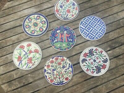 collection of 7 round Moroccan wall hanging tiles / trivets 160 mm diameter