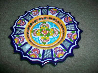 """Small Mexican Pottery Hand Scalloped Painted 7"""" Plate Acapulco"""