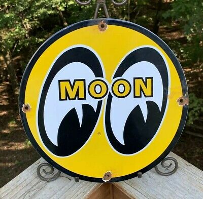 Vintage Moon Gas Porcelain Enamel Sign 11 3/4 Gasoline Oil Service Sign