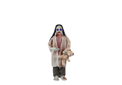 Halloween Props Life Size Decor Animated Zombie Girl w/ Bear Lighted LED Eyes