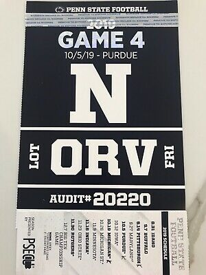 PENN STATE FOOTBALL vs PURDUE HOMECOMING -ORV LOT PARKING PASS - FRIDAY ARRIVAL