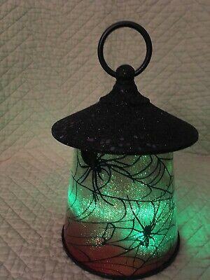 New Plastic Halloween Spider W/Webs Battery Operated Lantern~Color Morphing