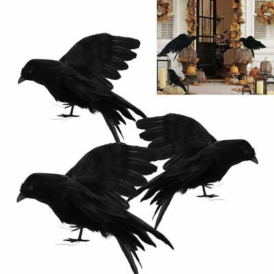 3pcs Black Feathered Small Crows Birds Ravens Props Halloween Decor 15/16/30cm