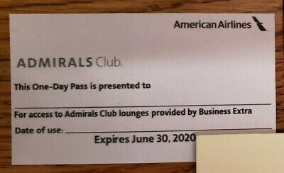 American Airlines Admirals Club One Day Pass - Expiration Date Of 6/30/20