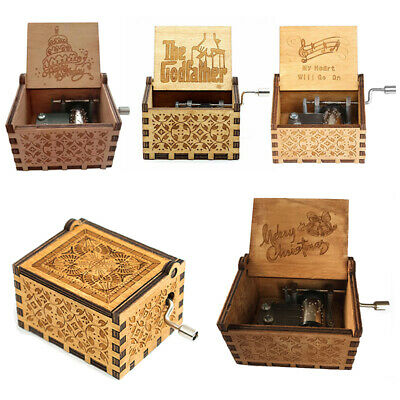 Hand Crank Engraved Wooden Music Box Toys Gift Kids Presents Queen The Godfather