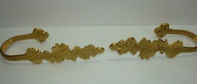 Large Solid Brass Curtain Tie-Backs Set Pair Holdback  Leaf Vine 9 3/4 inch