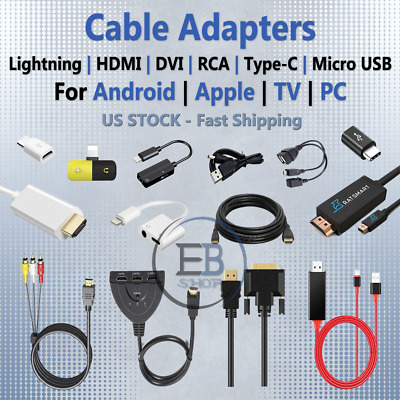 USB Adapters Cables Lightning Micro USB USBC DP HDMI AUX Cable RCA lot TV Home