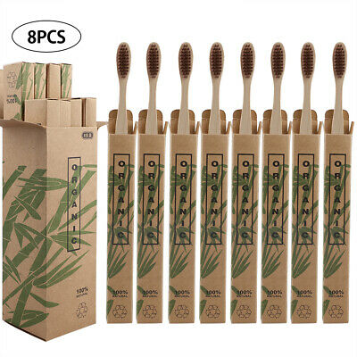 8Pcs Travel Bamboo Toothbrush Wood Handle Soft Bristles For Adult Oral Care