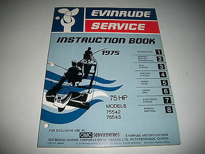 1975 Evinrude ( Johnson) Outboard 75 Hp Model  Oem Service Shop  Manual Clean