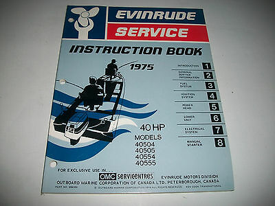 1975 Evinrude ( Johnson) Outboard 40 Hp Model  Oem Service Shop  Manual Clean