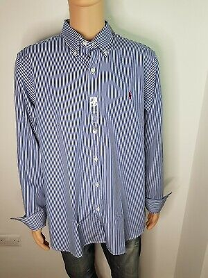 Ralph Lauren Mens Shirt Long Sleeve Size XL Blue/White Brand New with Tags