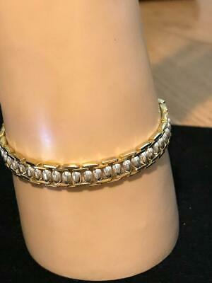 Awesome Vintage Sterling Silver Two Tone Women's Bracelet Made in Italy