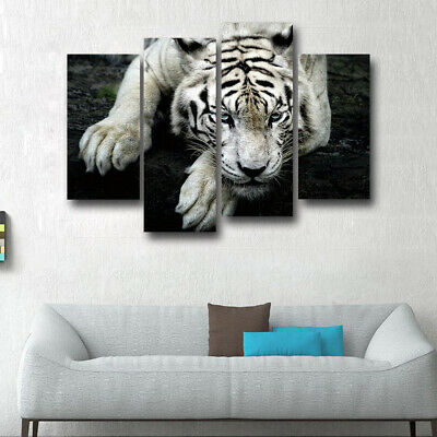 White Tiger Canvas Painting Animal Wall Art Picture HD Print Poster Home Decor