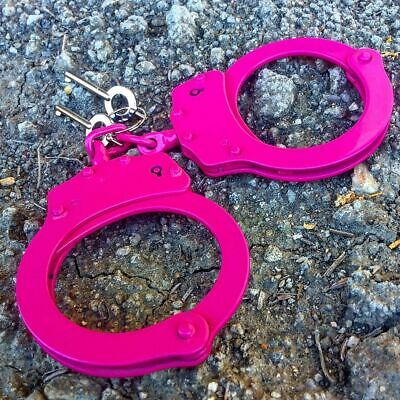 PINK Carbon Steel Hand Handcuffs Police Double Locking Real Lock Cuffs W/ 2 keys
