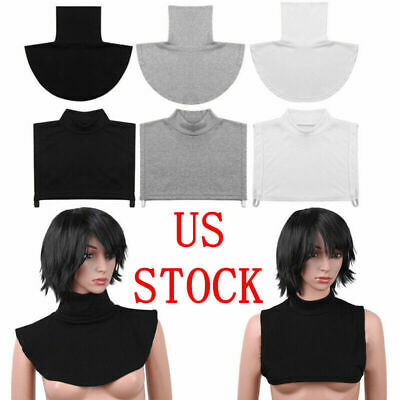Women Cotton Fake Turtleneck Blouse Dickey Collar Mock Half Top Neck Soft Warmer