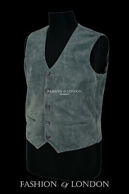 INDIANA Men/'s Suede Leather Waistcoat Black Party Casual Fashion Leather Vest