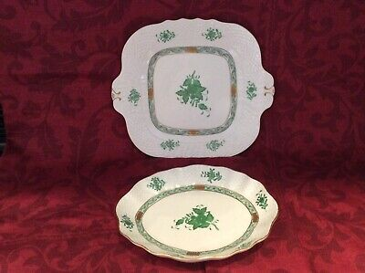 Herend Porcelain Tableware Apponyi Green Patterned In Perfect  Condition