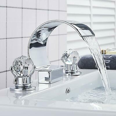 Chrome Waterfall Filler Spout Widespread Bathroom Faucet 2 Crystal Handle 3 Hole