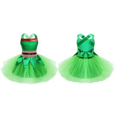 Kids Girls Christmas Fancy Dress Cosplay Costume Outfit Sequins Mesh Tutu Skirt