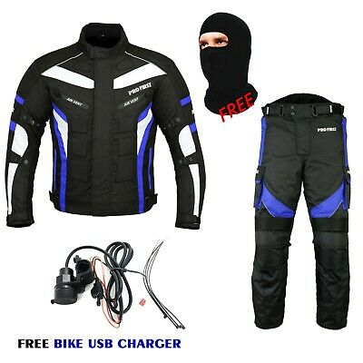 Mens Motorbike 2 Piece Motorcycle Suit CE Approved Racing Suit FREE USB Charger