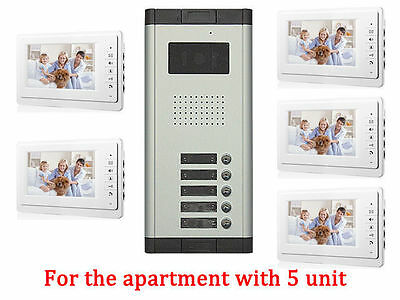 Apartment 5 Unit Intercom Entry System Wired Video Door Phone Audio Visual US