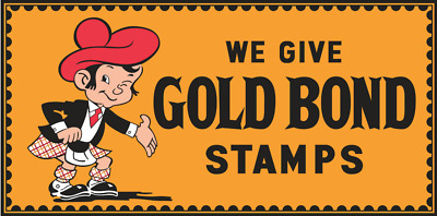 "Vintage Style Metal Sign Gold Bond Stamps 36"" x 18"""