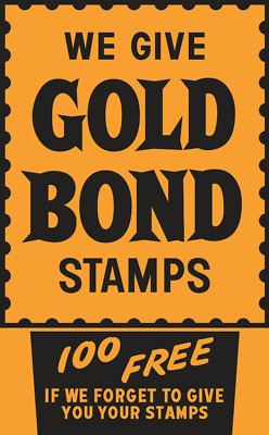 "Vintage Style Metal Sign Gold Bond Stamps 30"" x 18"""