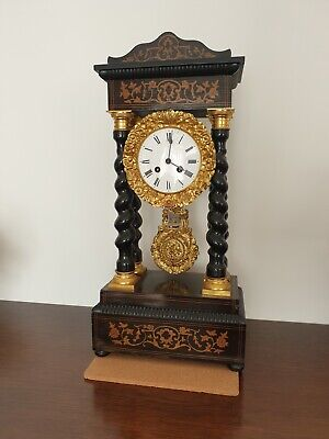 Antique French 4 Column Barley Twist Portico Clock With Ormolu Decoration C1880s