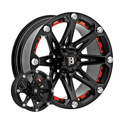 "PRESTIGE WHL 8147NFBA 814 Jester Flat Black with Red Inserts (17"" X 9"", -12"