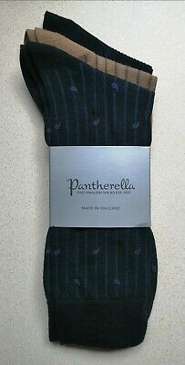 Pantherella 3 Pack Merino Wool Socks Pemberton Plain Rib Mix Size L 10-12 BNIP