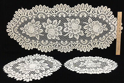 Rose Doily Doilies Runner Oval Ivory Color Heritage Lace Set 3 Sizes L M SM