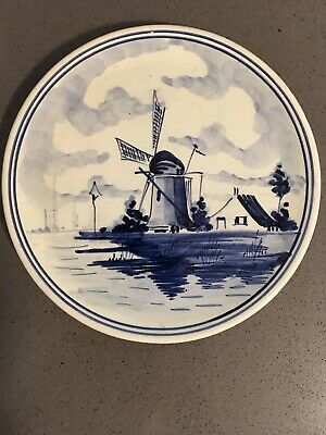 "Vintage Delft Blue Wall Plate Windmill Made in Holland Hand Painted  6.5""."