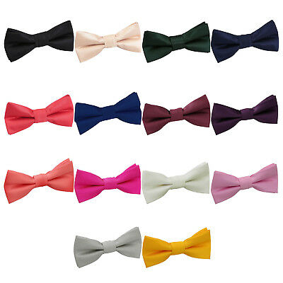 DQT Boys Bow Tie Woven Solid Check Adjustable Wedding Pretied FREE Pocket Square