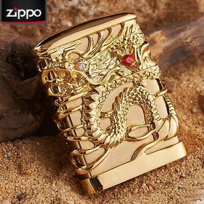 Jacket Gold Japanese Dragon Red Ruby Zippo Lighter - AU STOCK