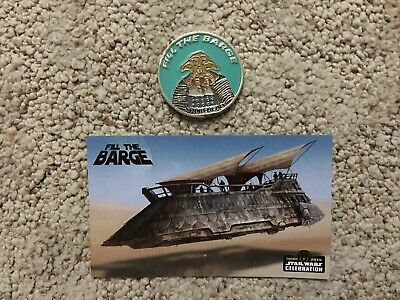 Star Wars Celebration Chicago Fill the Barge Squid Head Coin + Postcard