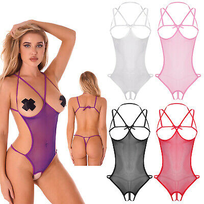 Damen Fischnetz Babydoll Dessous Set Transparent Teddy Bodysuit mit G-String