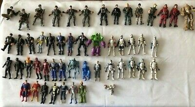Huge lot of 50 plus action figures - Marvel, DC, Military, GI Joe, Star Wars +