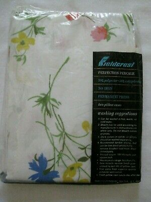 Vintage Fieldcrest Perfection Floral Percale 2 Standard Pillowcases New