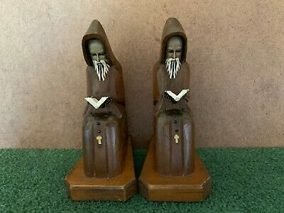 Vintage Hand Carved Wood Wooden Hooded Monk Priest Rosary Gothic Bookends