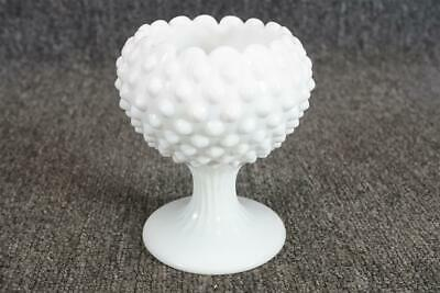 Fenton White Hobnail Milk Glass Footed Compote