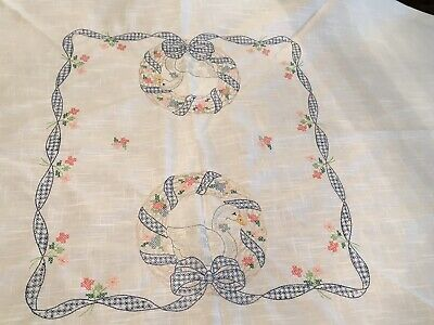 "Vintage Linen Embroidery Blue Cross-stitch  68"" Round TABLECLOTH"