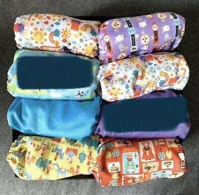 Tots Bots Stretch Wrap Size 2 9-35lbs Lot Of 8 Fitted Prefold Cloth Diaper Cover