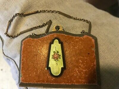 Vintage Art Deco Marathon Enamel Guilloche Compact with Mirror, Dance Purse Rose