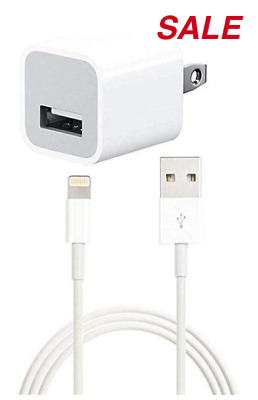 5W Apple iPhone Lightning USB wall Charger Cube & Data Sync Cable, for iPhone