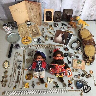 Vintage Junk Drawer Lot Jewelry Watches Monchhici Tin Type Photos Misc Vintage