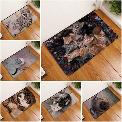 3D Kawaii Cat Print Welcome Floor Mats Bedroom Hallway Carpet#^