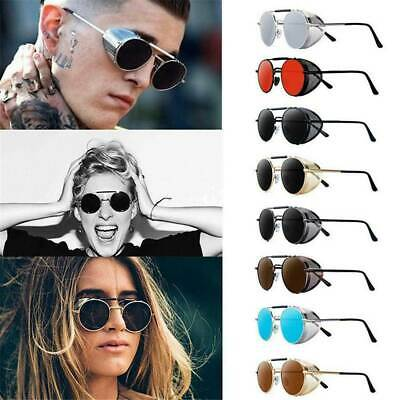 Retro Style Mirror Lens Round Glasses Cyber Goggles Vintage Steampunk Sunglasses