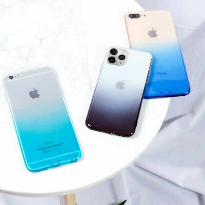 For iPhone 11 Pro Max XS XR X 8 7 Plus Clear Shockproof Slim Gradient Case Cover